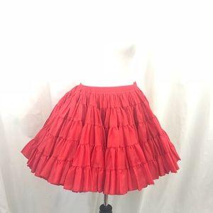 Vintage Red Mini Petticoat Crinoline Skirt M